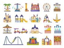 Modern children s amusement park, with attractions. Playgrounds for children. Children s amusement outdoor park, with attractions, carousels, roller, fun Royalty Free Stock Photography