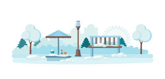 Children`s amusement park, playground and recreation, a snow-covered surface. Vector illustration. Can be used in banner, mobile app, design Royalty Free Stock Photo