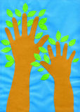Children`s application `Children`s hands trees` paper, cardboard.  Royalty Free Stock Image