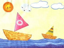 Children`s applique sailing boats. In the sky sun and clouds vector illustration