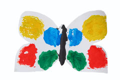 Children`s applique white butterfly with colorful wings. On a white background Stock Photography