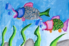 Children's Art. Photograph image of a 6 year old child's art work Stock Photography