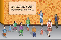 Children's art. Cognition of the world. Ten children of 1 - 11 years old age Stock Photo