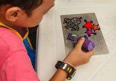 Children's art paint drip Stock Photography