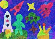Children's artwork on the space theme Stock Photos
