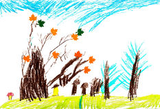 Children`s autumn trees, drawing pencil Stock Photos