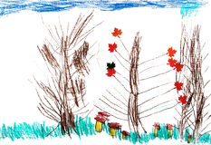 Children`s autumn trees, drawing pencil Royalty Free Stock Photos