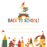 Children's 'back to school' background with houses. And the fairytale boy with place for text. Hand drawn vector illustration Royalty Free Stock Photos