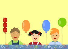 Children's background with peeking boys and girl Stock Photo