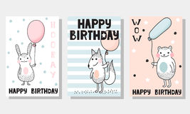 3 children`s backgrounds for greeting card Royalty Free Stock Image