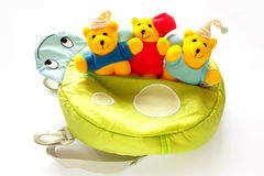 Childrens backpack with soft toys Stock Images