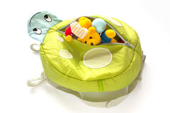 Childrens backpack with soft toys Royalty Free Stock Photo