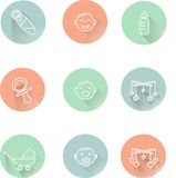 Children's badges, the white lines in pastel pink, blue, green, cool colors, shadow Stock Photo