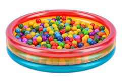 Children`s ball pool with colored balls, 3D rendering. Isolated on white background Royalty Free Stock Images