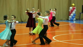 Children's Ballroom dancing tournament, dance Quick Step. At the Sports Complex stock video