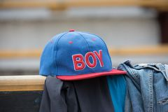 Children`s baseball cap royalty free stock photos