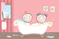 Children's bath. Vector illustration of boy and girl taking bath stock illustration