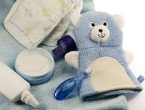 Children's bath products and hygiene items. Closeup Stock Photography