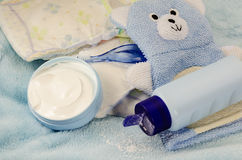 Children's bath products and hygiene items. Closeup stock image
