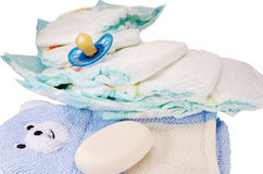 Children's bath products and hygiene items. Closeup Royalty Free Stock Image