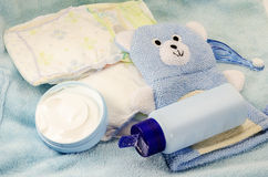 Children's bath products and hygiene items closeup Stock Photography