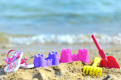 Children's beach toys stock photos