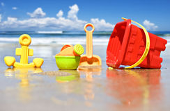 Children's beach toys at the beach Stock Photography
