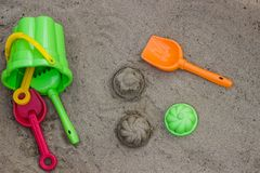 Children`s beach toys royalty free stock photography