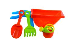 Children`s beach toys isolated on white background. Group of children`s beach toys isolated on white background with clipping path Stock Photos