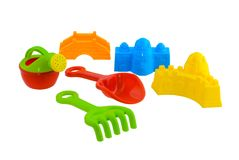 Children`s beach toys isolated on white background. Group of children`s beach toys isolated on white background with clipping path Stock Images