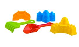 Children`s beach toys isolated on white background. Group of children`s beach toys isolated on white background with clipping path Royalty Free Stock Photos