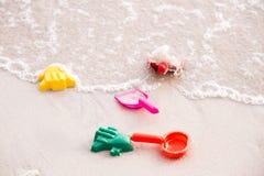 Children's beach toys on the sand Royalty Free Stock Photos