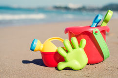 Children`s beach toys on the sand Stock Image