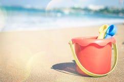 Children`s beach toys on the sand Stock Photo