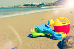 Children`s beach toys on the sand Royalty Free Stock Image