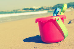 Children`s beach toys on the sand Royalty Free Stock Photo