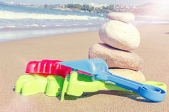 Children`s beach toys on the sand Royalty Free Stock Images