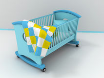 Children's bed. Blue children's bed with blanket. 3d Royalty Free Stock Photography