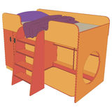 Children's bed 3d view illustration object. In vector Royalty Free Stock Photography
