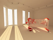 Children's bed in an empty room, lit by sunlight Royalty Free Stock Images