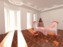 Children's bed in an empty room, lit by sunlight Royalty Free Stock Image