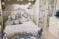 Children's bedroom in beige with furniture Royalty Free Stock Photo