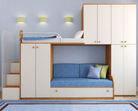 Children's bedroom in blue Royalty Free Stock Images