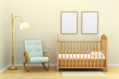 Children's bedroom with a crib,. Chair and floor lamp Stock Images