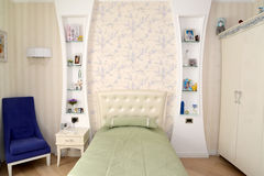 Children's bedroom in light tones. Modern classics with rococo e Stock Photography