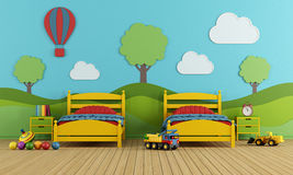 Children's bedroom with two single beds Royalty Free Stock Images
