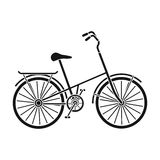 Children s bicycle with low frame and luggage compartment flaps.Different Bicycle single icon in black style vector. Symbol stock web illustration Stock Photography