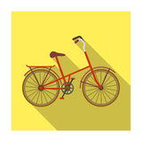 Children s bicycle with low frame and luggage compartment flaps.Different Bicycle single icon in flat style vector. Symbol stock web illustration Stock Image