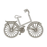 Children s bicycle with low frame and luggage compartment flaps.Different Bicycle single icon in outline style vector. Symbol stock web illustration Royalty Free Stock Images
