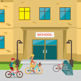 Children's bicycle parking near the school Royalty Free Stock Photo